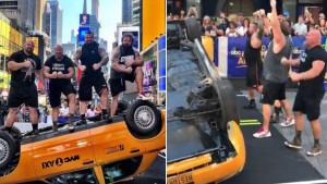 Automobil protiv strongmana: Za samo nekoliko sekundi se našao na krovu