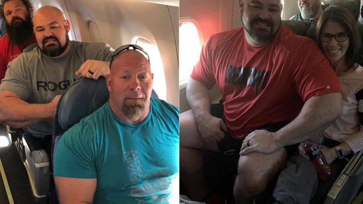 Kada ogromni strongmani putuju avionom, let i nije baš tako ugodan